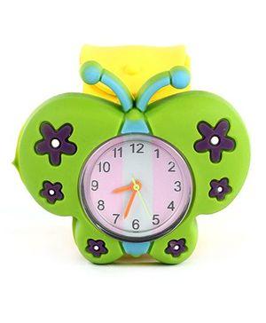 Slap Style Analog Watch Butterfly Design - Green