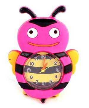 Slap Style Analog Watch Honeybee Design - Pink Yellow
