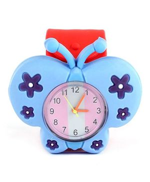 Slap Style Analog Watch Butterfly Design - Blue Red