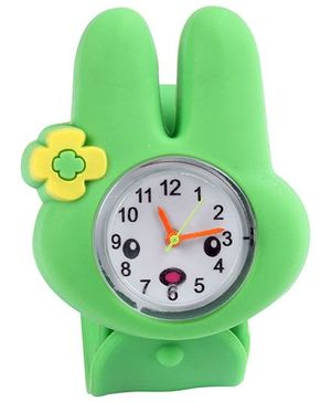 Slap Style Analog Watch Bunny Design - Green