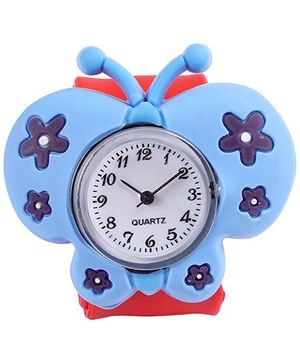 Slap Style Analog Watch Butterfly Design - Blue And Red