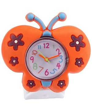 Slap Style Analog Watch Butterfly Design - Orange And White