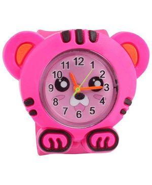 Slap Style Analog Watch Tiger Design - Pink
