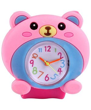 Slap Style Analog Watch Bear Design - Pink