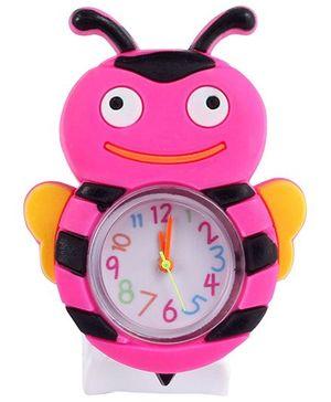 Slap Style Analog Watch Bee Design - Dark Pink