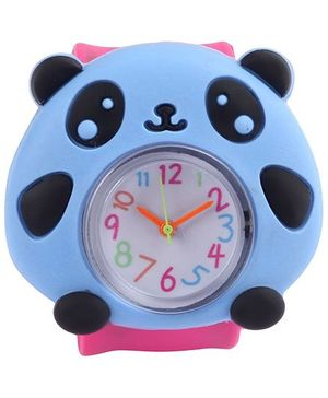 Slap Style Analog Watch Panda Design - Pink And Blue
