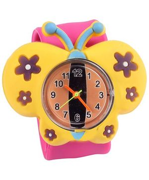 Slap Style Analog Watch Butterfly Design - Yellow And Pink