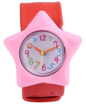 Slap Style Analog Watch Star Design - Red And Pink