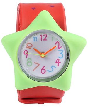 Slap Style Analog Watch Star Design - Red And Green