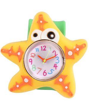 Slap Style Analog Watch Star Fish Design - Green And Yellow