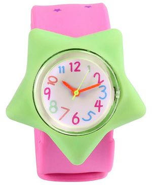 Slap Style Analog Watch Star Design - Pink And Green