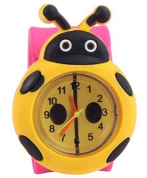 Slap Style Analog Watch Bug Design - Pink And Yellow