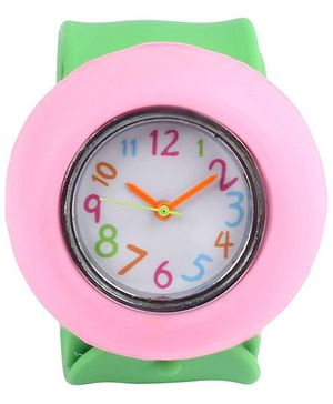 Slap Style Analog Watch Round Shape Dial  - Green And Peach