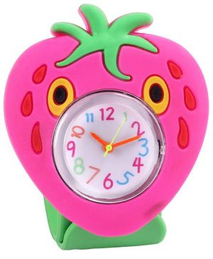 Slap Style Analog Watch Strawberry Design - Green And Pink