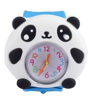 Slap Style Analog Watch Panda Design - Blue And White