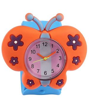 Slap Style Analog Watch Butterfly Design - Blue And Orange
