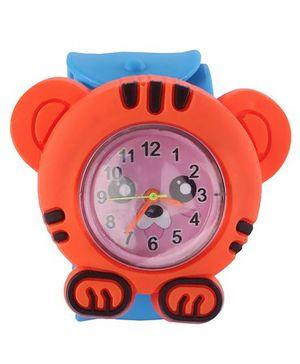 Slap Style Analog Watch Tiger Design - Orange And Sky Blue