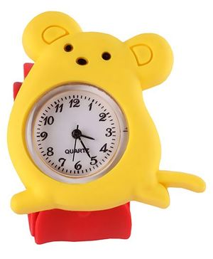 Slap Style Analog Watch Mice Design - Red And Yellow