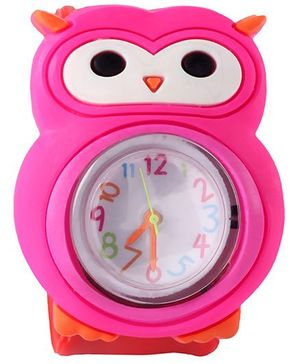 Slap Style Analog Watch Owl Design - Red And Pink