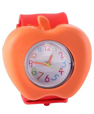Slap Style Analog Watch Apple Design - Red And Orange