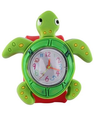 Slap Style Analog Watch Tortoise Design - Red And Green