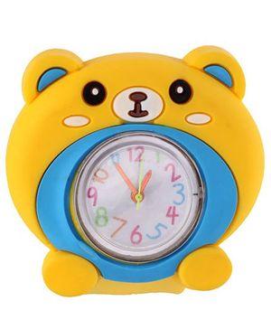 Slap Style Analog Watch Bear Design - Yellow And Blue