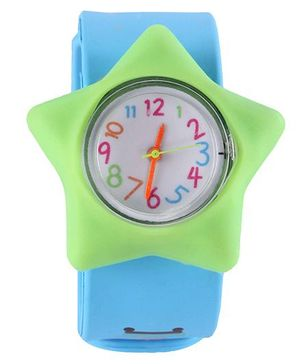 Slap Style Analog Watch Star Design - Green And Sky Blue