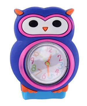 Slap Style Analog Watch Owl Design - Blue And Sky Blue