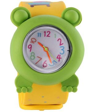 Slap Style Analog Watch Frog Design - Green And Yellow