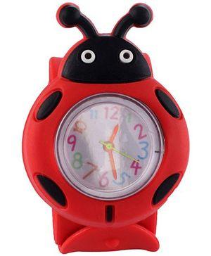 Slap Style Analog Watch Ladybird Design - Red