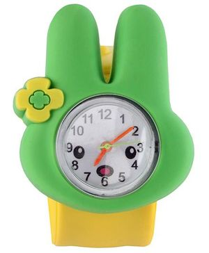 Slap Style Analog Watch Bunny Design - Green And Yellow