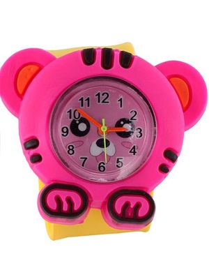 Slap Style Analog Watch Tiger Design - Pink And Yellow