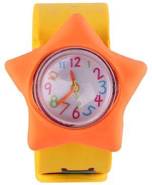 Slap Style Analog Watch Star Design - Orange And Yellow