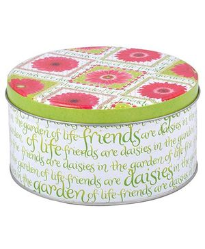 L'Orange Round Box With Text Design - Green and Pink