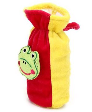 Babyhug Plush Bottle Cover Frog Face Motif Large - Yellow And Pink