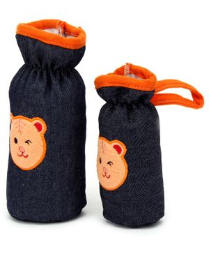 Babyhug Bottle Cover Denim Bear Face Motif Set of 2 - Assorted Colours