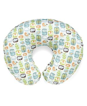 Chicco Printed Boppy Pillow With Cotton Slip Cover St Collector - White
