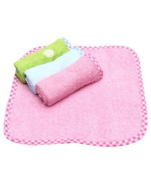 Wash Cloths Printed Border Pack of 4 - Pink Green And Blue