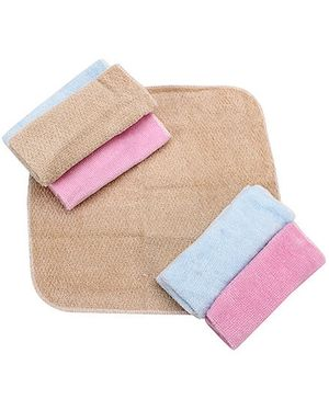 Wash Cloth Solid Colour Set Of 6 - Pink Blue And Brown