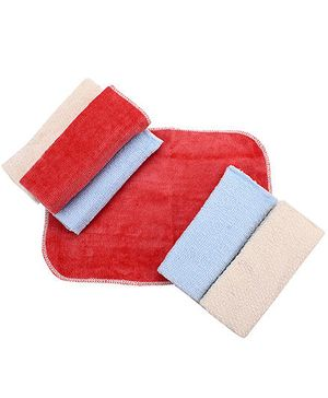 Wash Cloth Solid Colour Set Of 6 - Red Blue And Cream