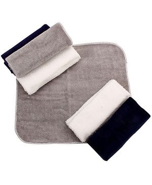 Wash Cloth Solid Colour Set Of 6 - Grey Navy Blue And White