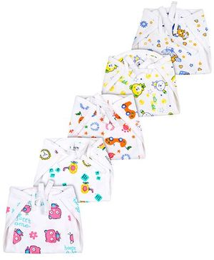 Babyhug Printed Fabric Nappy With String Tie Up Medium - Pack Of 5