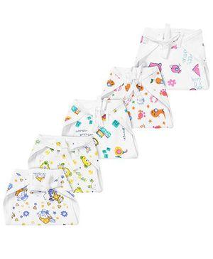 Babyhug Muslin Padded Printed Interlock Fabric Nappy Medium - Pack Of 5