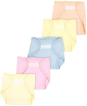 Babyhug Interlock Fabric Velcro Closure Nappy Medium - Pack Of 5