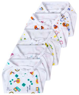 Babyhug Interlock Fabric Nappy With String Tie Up Small White - Pack Of 5