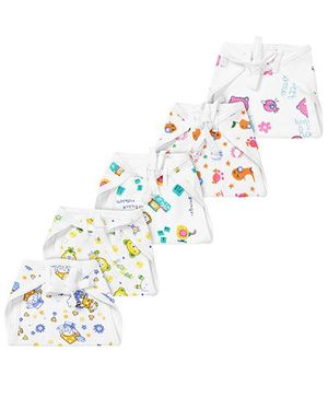 Babyhug Printed Interlock Fabric Nappy With String Tie Up Medium - Pack Of 5