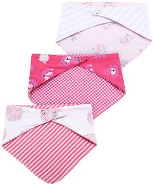 Ben Benny Printed Cross Bibs Set of 3 - White And Pink