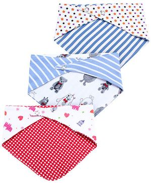 Ben Benny Printed Cross Bibs Set of 3 - White And Blue