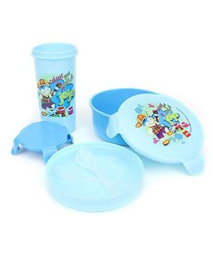 Cello Homeware Eat And Sip Lunch Box Set Color Your World Print - Sky Blue