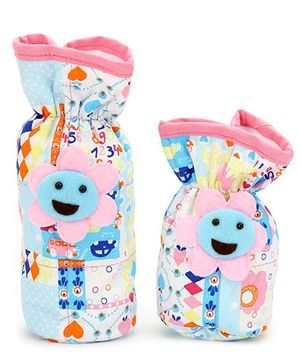 1st Step Printed Bottle Cover Sunflower Motif Set of 2 - Sky Blue And Multicolor